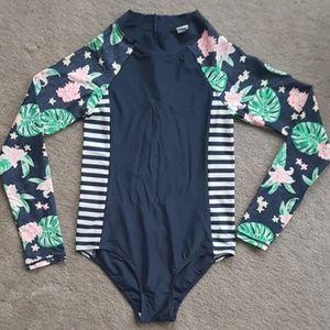 Navy Blue Long Sleeve One Piece Swimsuit -Girls 14